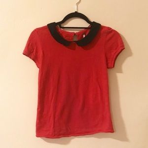 Red T-shirt with black Peter Pan collar
